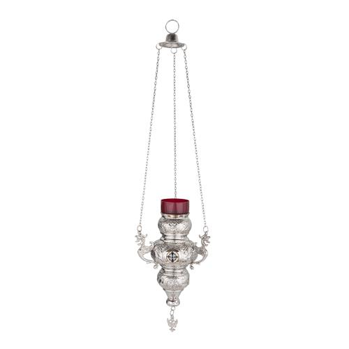 Large Nickel Plated Hanging Vigil Lamp