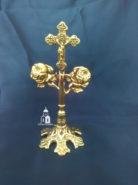 Standing Brass Cross with Roses