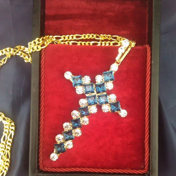 Blue Swarovski Pectoral Cross