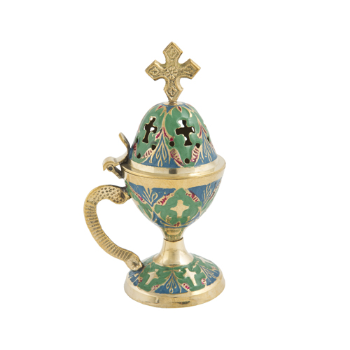 Green & Blue Enamel Coated Censer
