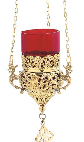 Gold Plated Hanging Vigil Lamp