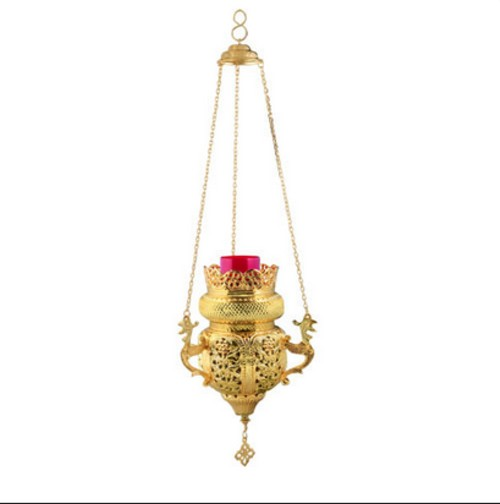 Large Gold Plated Hanging Vigil Lamp