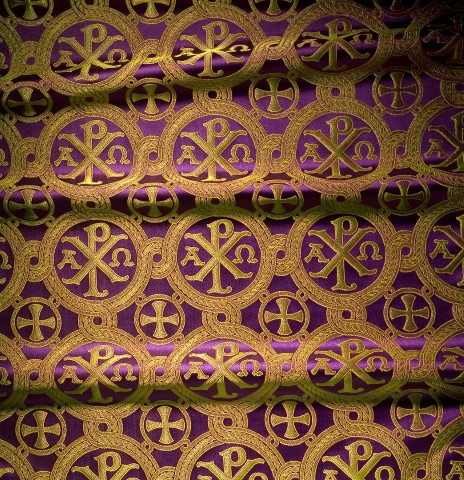 Chi Rho Cross Pattern Brocade Purple