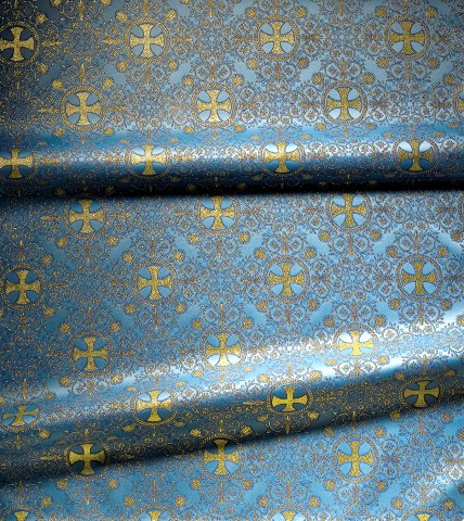 Cross Pattern Brocade Blue