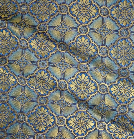 Cross Pattern Brocade Blue