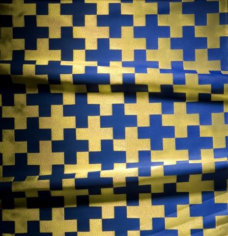Cross Pattern Brocade Blue/Gold