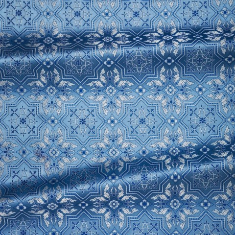 Cross Pattern Brocade Blue Silver