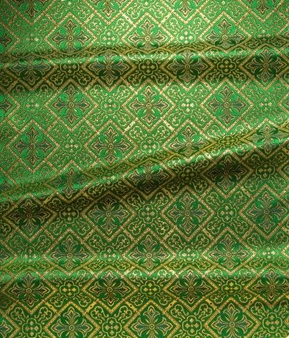 Cross Pattern Brocade Green