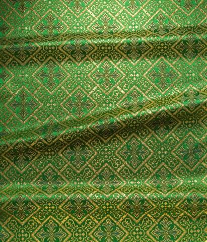 Cross Pattern Brocade Green