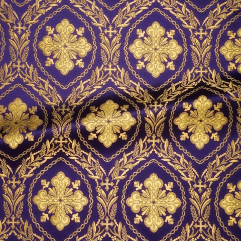 Cross Pattern Brocade Purple