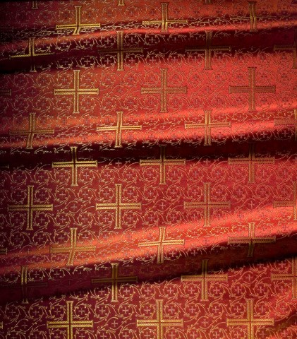 Cross Pattern Brocade Red