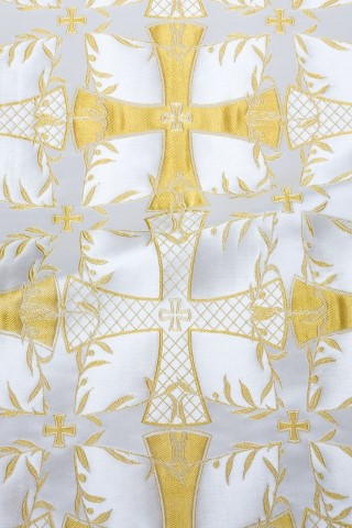 Cross Pattern Brocade White