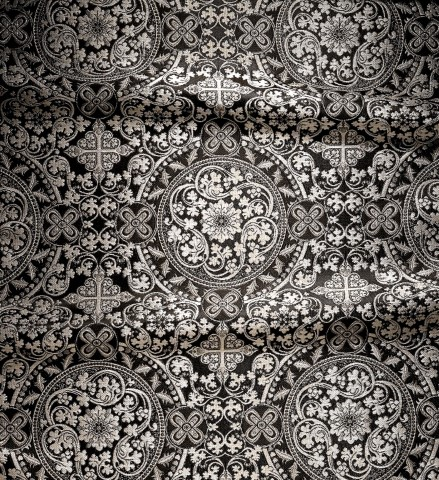 Cross and Floral Pattern Brocade Black
