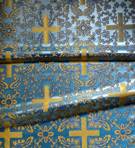 Cross and Floral Pattern Brocade Blue