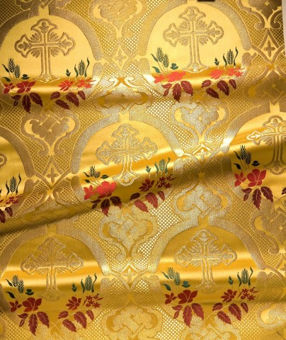 Cross and Floral Pattern Brocade Gold