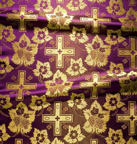 Cross and Floral Pattern Brocade Purple