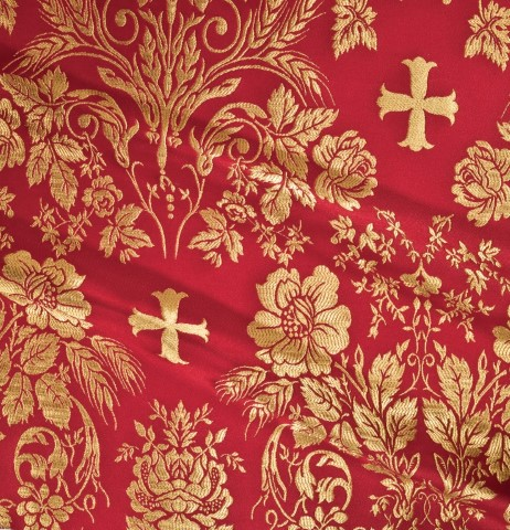 Cross and Floral Pattern Brocade Red
