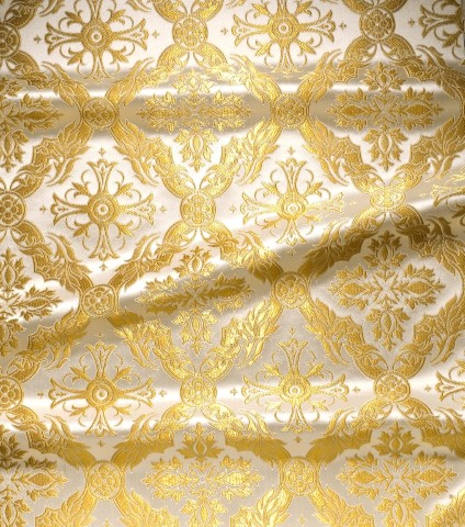 Cross and Floral Pattern Brocade White