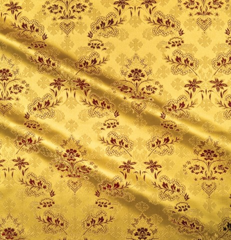 Cross and Floral Pattern Brocade Yellow