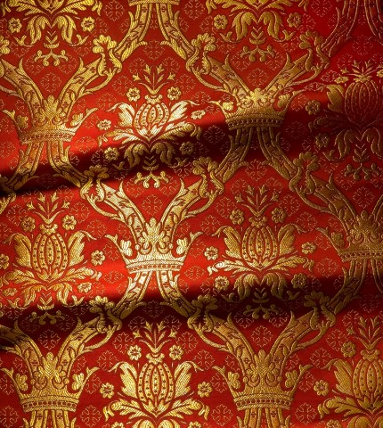 Floral Crown and Cross Pattern Brocade Red