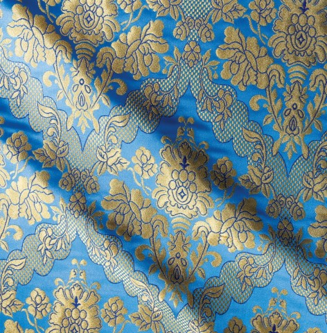Floral Pattern Brocade Blue Gold
