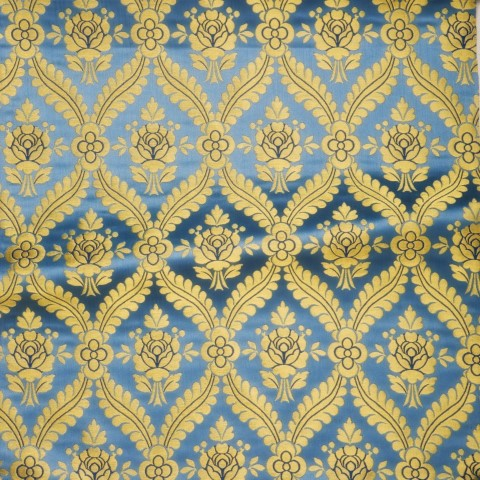 Floral Pattern Brocade Blue Gold