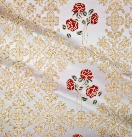 Roses and Cross Pattern Brocade White