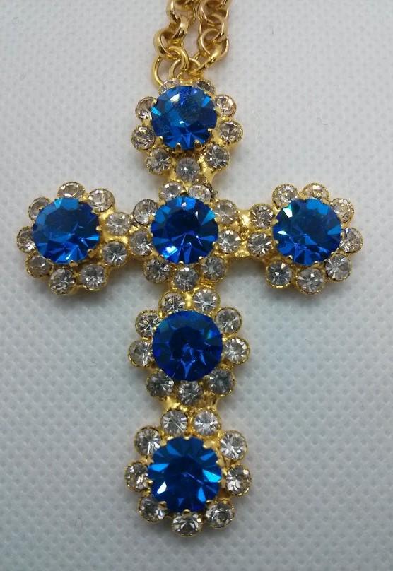 Blue Swarovski Pectoral Cross