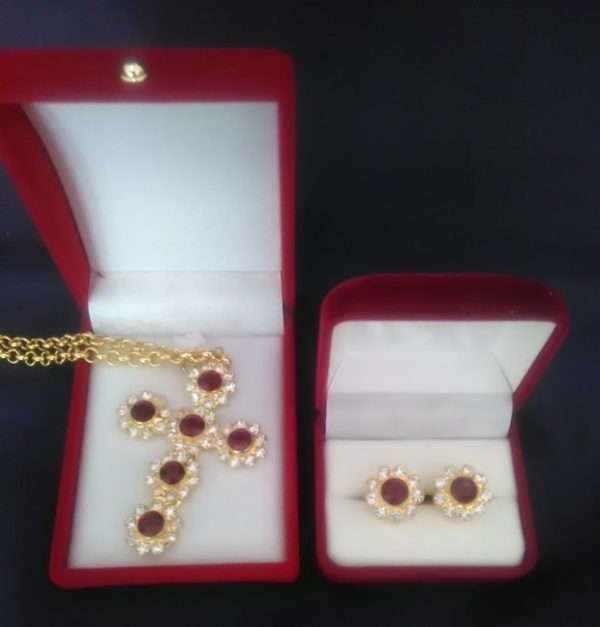 Swarovski Pectoral Cross & Cufflinks Set