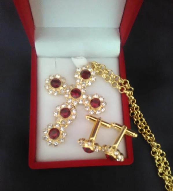 Swarovski Pectoral Cross & Cufflinks Set